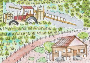 Ilustración de las campos siendo fumigados y la cercanía con los hogares